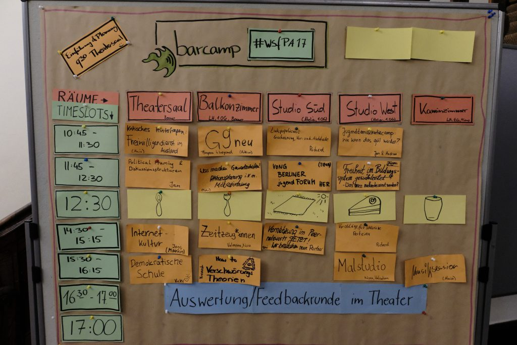 Sessionplan vom Barcamp-Tag.